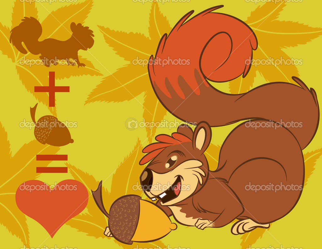 Illustration vector of cute cartoon squirrel sneak up to nuts.