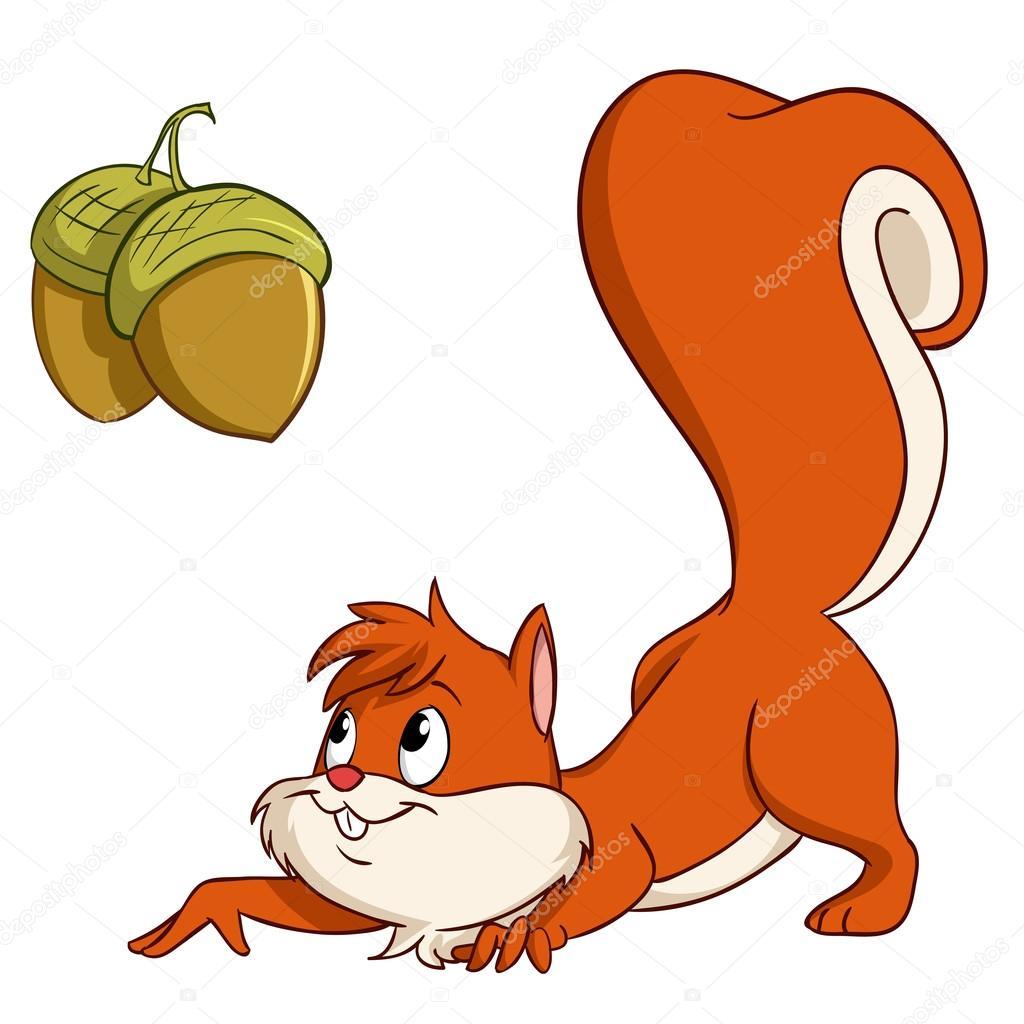 Cartoon squirrel sneak up to nuts — Stock Vector © acidburn #12751258.