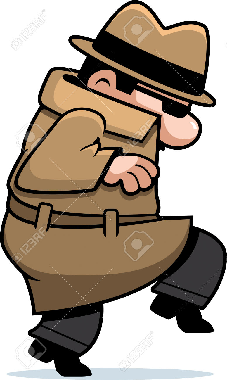 A Cartoon Spy In A Coat Sneaking Around. Royalty Free Cliparts.