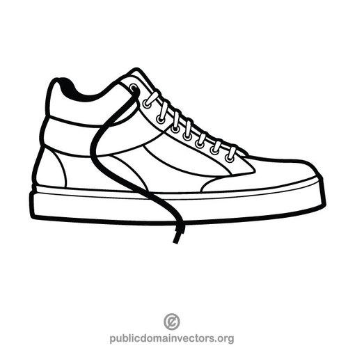 Sneaker shoe monochrome clip art.