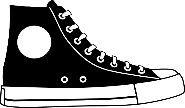 tennis shoe clip art black and white.