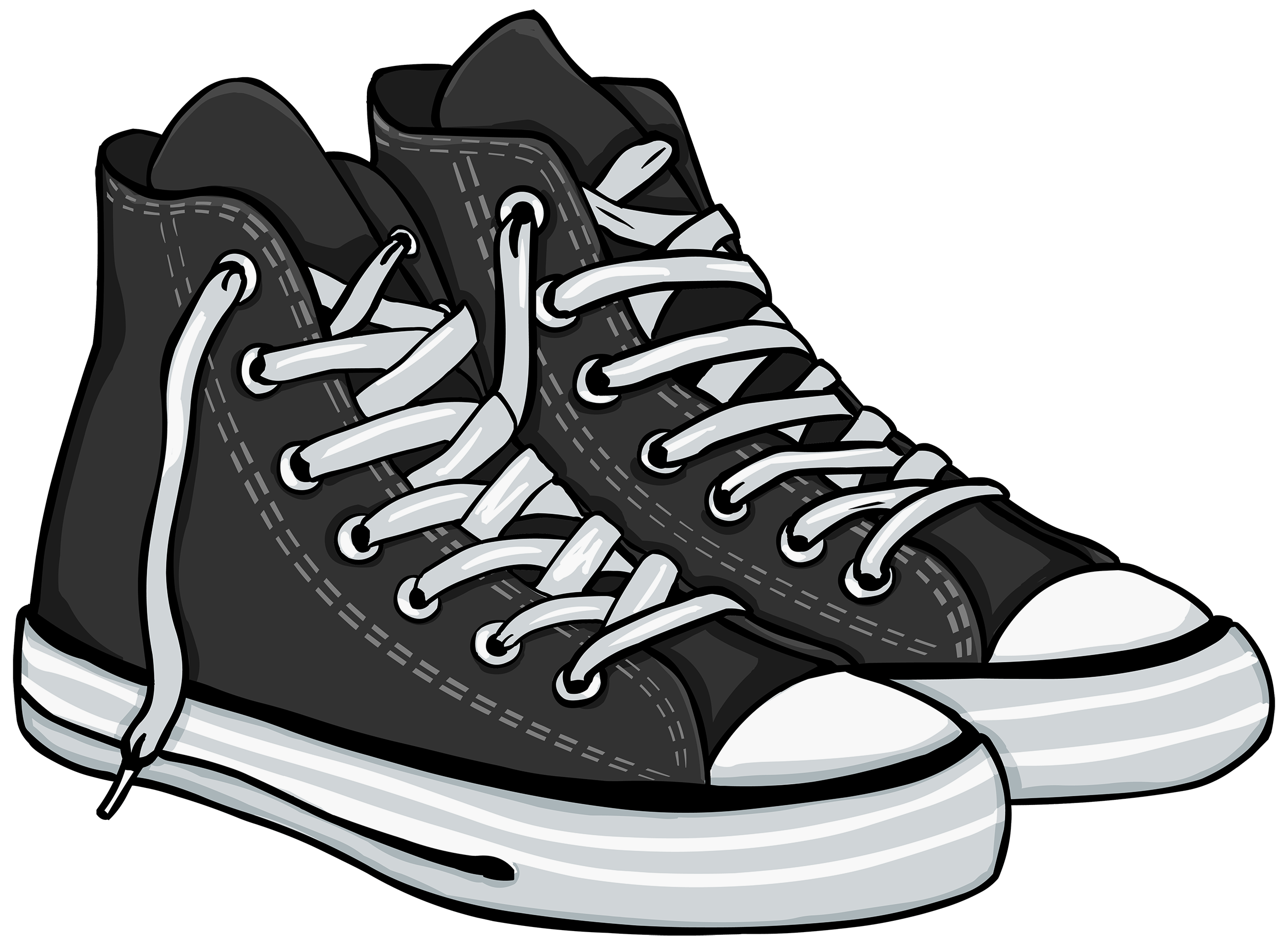 Tennis shoes clipart black and white collection.
