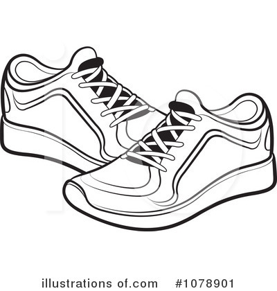 Clip Art Black And White Sneakers Clipart#1976412.