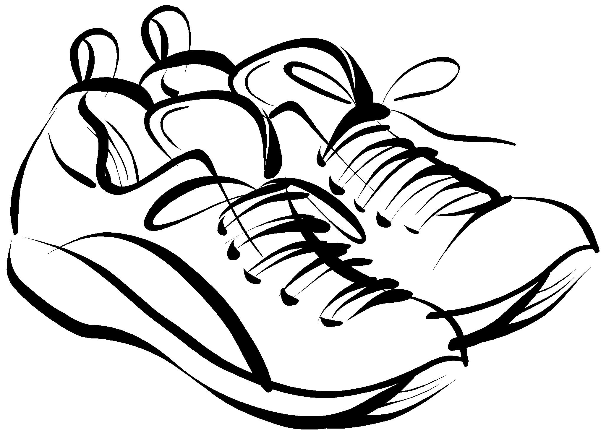 Free Clip art of Tennis Shoes Clipart #3579 Best Black and White.