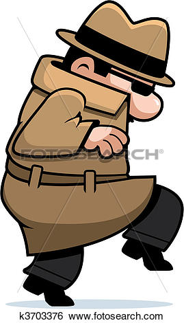 Clip Art of Spy Sneaking k3703376.