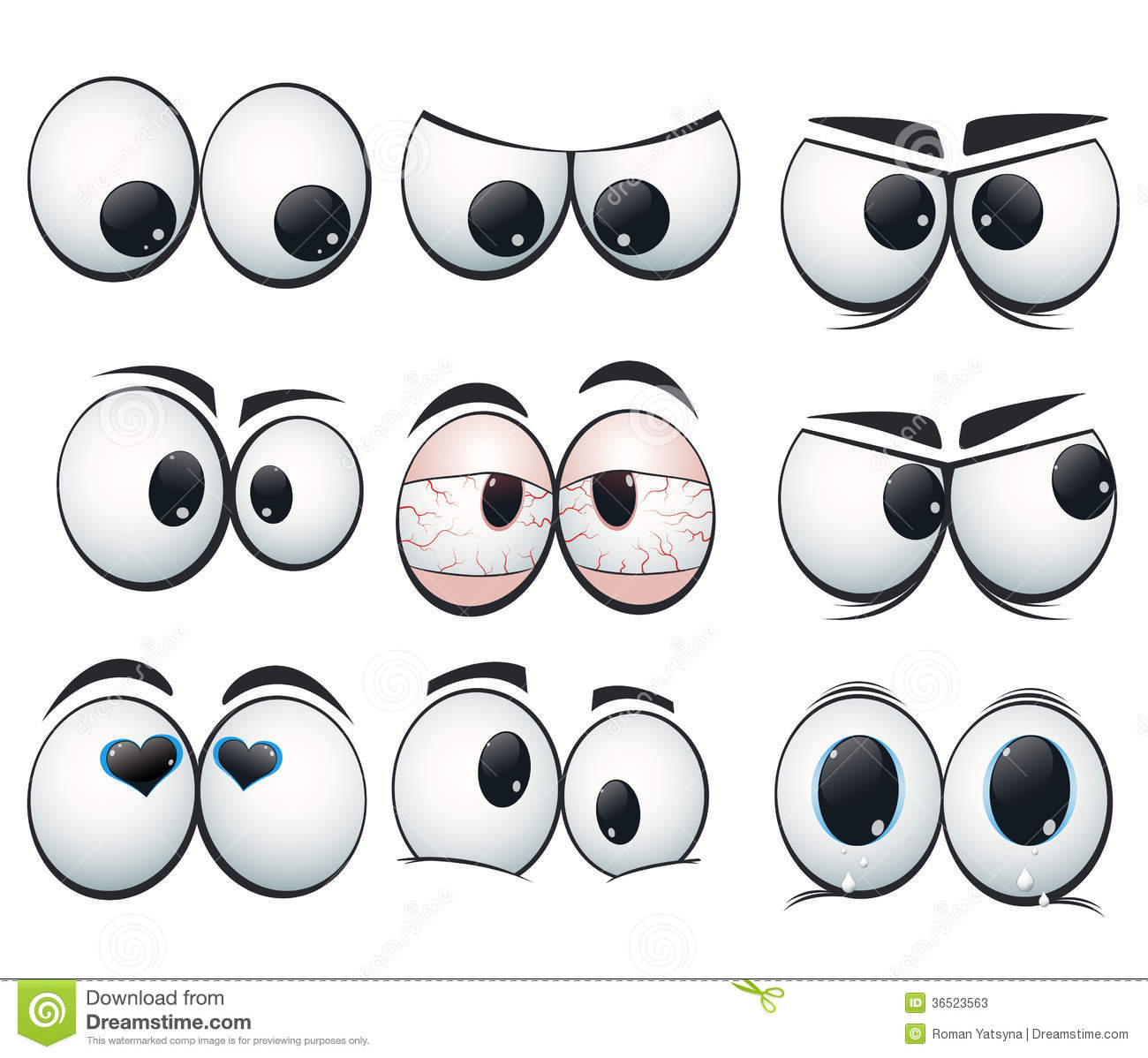 Cartoon Expression Eyes With Different Views Stock Photos.