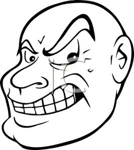 Black and White Cartoon of a Sneering Mans Face.