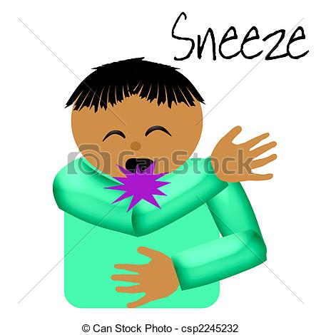 Clip Art of sneeze catcher elbow poster illustration on solid.