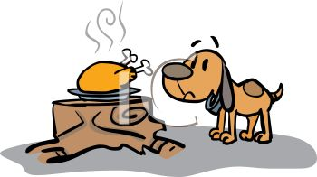 Picture of a Dog Sniffing a Cooked Turkey On a Plate Sitting On a.