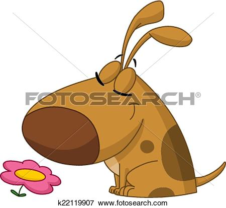 Clipart of Cute dog cartoon sniffing k16177485.
