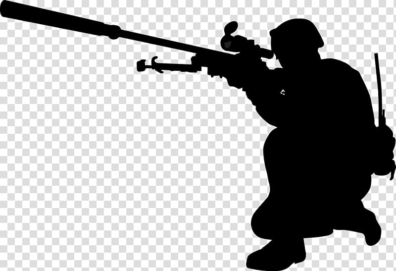 Silhouette of person holding sniper rifle, Soldier Military.