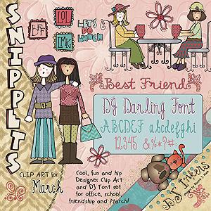 Snippets Clip Art & Font COMBO Sets.