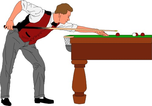 Man playing a shot in snooker; Sport.