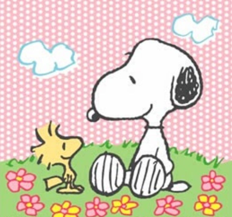 Snoopy and Woodstock on a lovely Spring day..