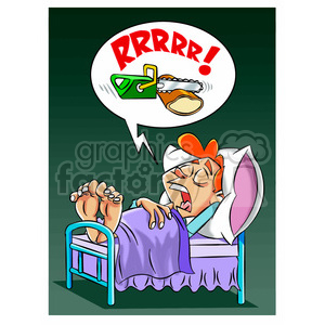 person snoring really loud clipart. Royalty.