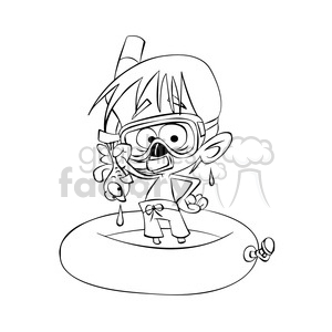 vector child playing in the water wearing a snorkel in black and white  clipart. Royalty.