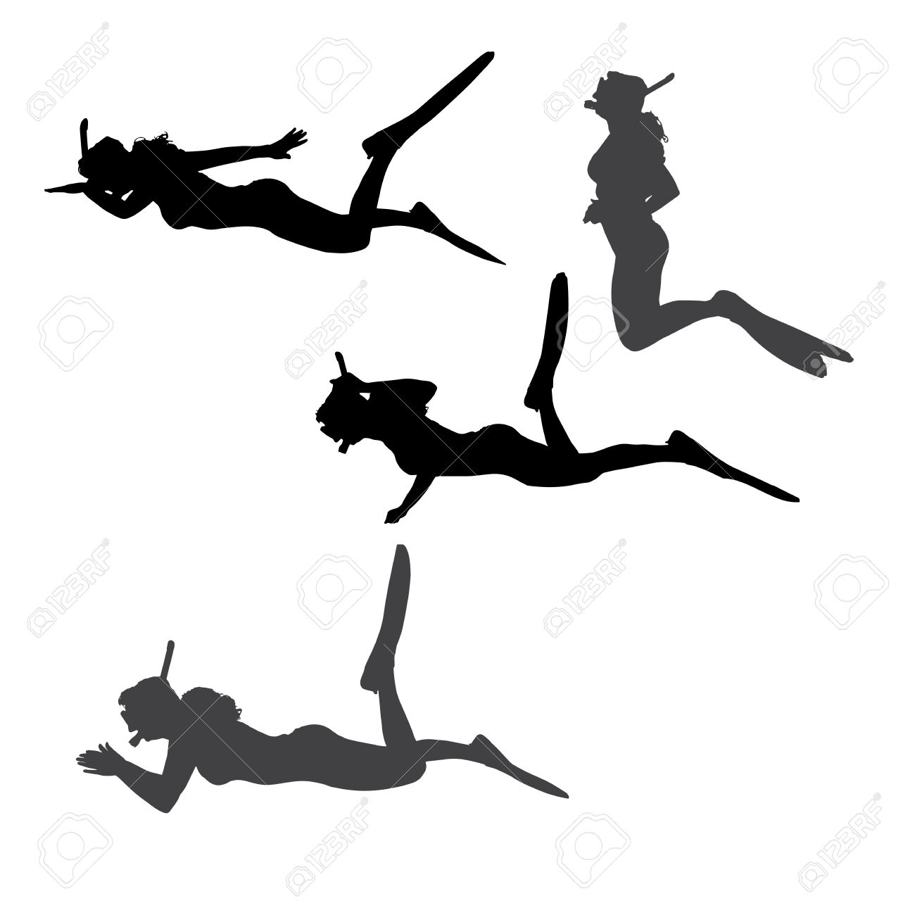 Vector Silhouette Of A Woman With Flippers And A Snorkel. Royalty.