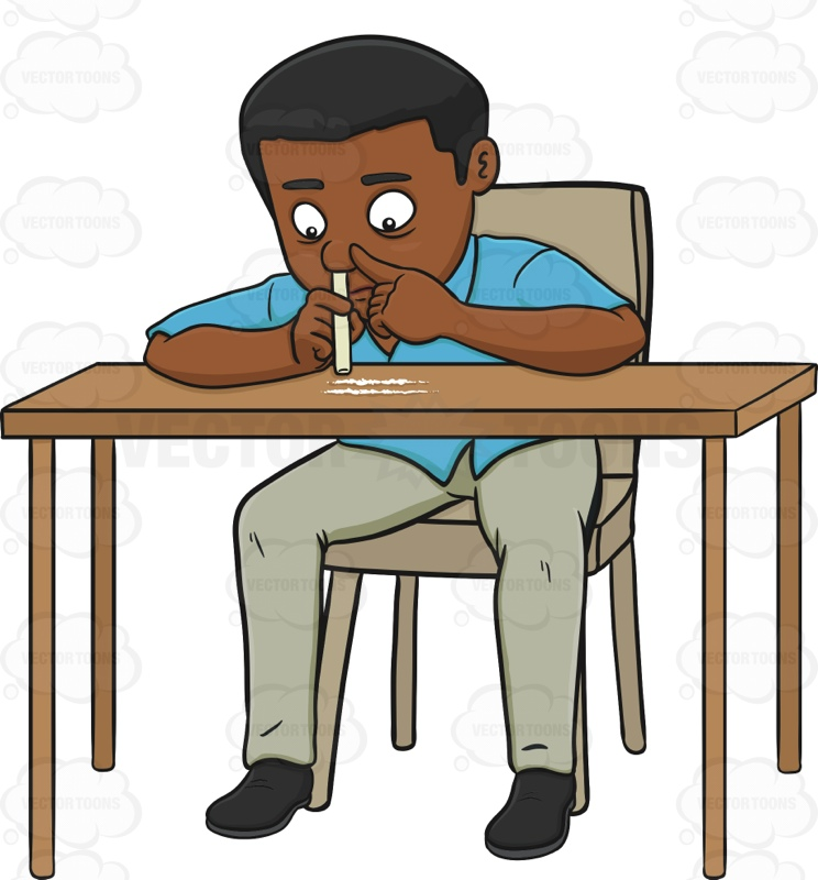 African American Man Snorting Cocaine Cartoon Clipart.