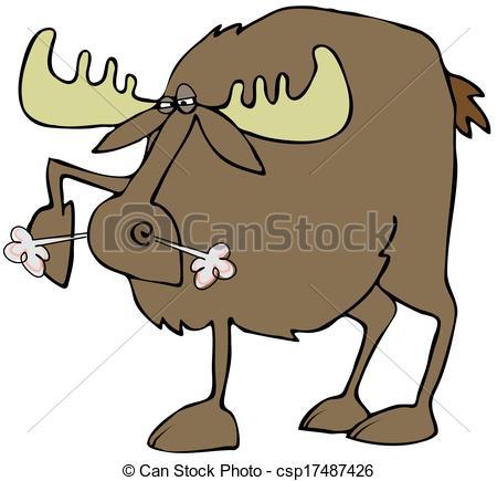 Clip Art of Snorting moose.
