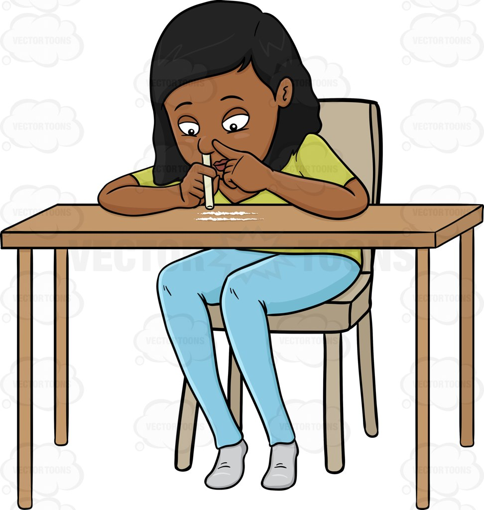 Woman Snorting Cocaine On A Table Cartoon Clipart.