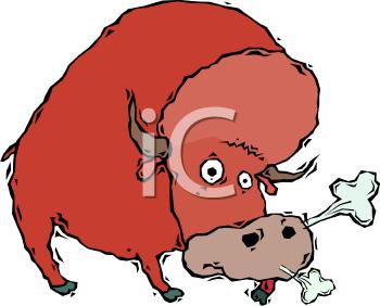 Snorting Bull Clipart.
