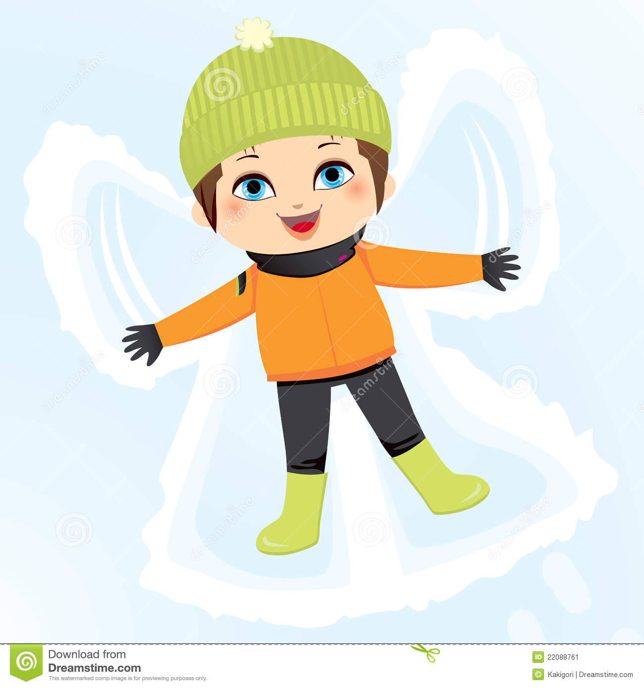Animal making snow angels clipart.