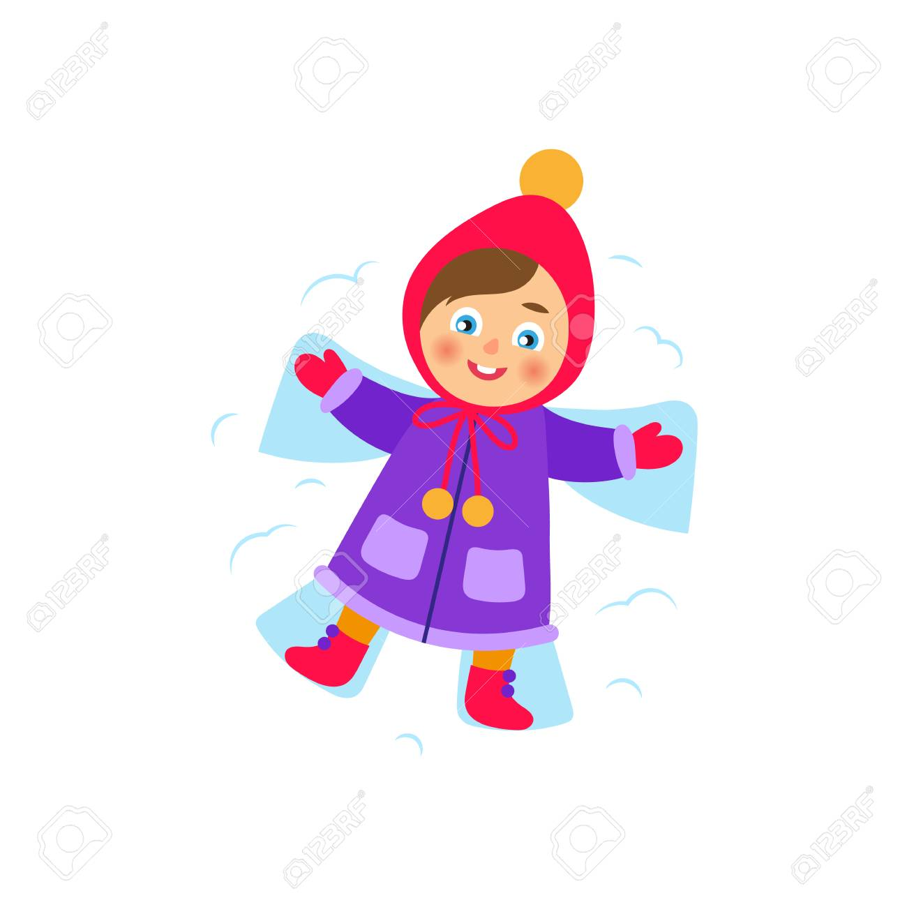 Vector girl lying in the snow making snow angel » Clipart.