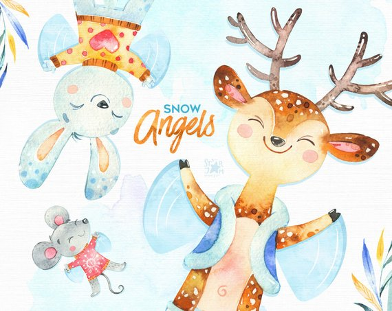 Snow Angels. Watercolor holiday animal clipart, polar bear.