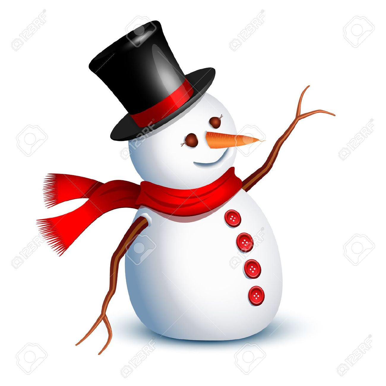 Happy Snowman Greeting With An Arm Royalty Free Cliparts, Vectors.