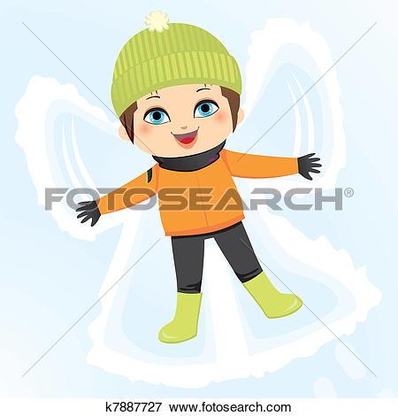 Clip Art of Snow Angel Boy k7887727.
