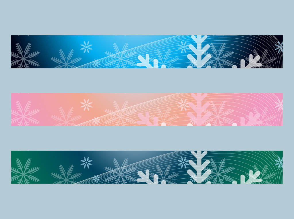 Snow Banners Vector.