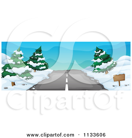 Cartoon Of A Winter Road With Snow.