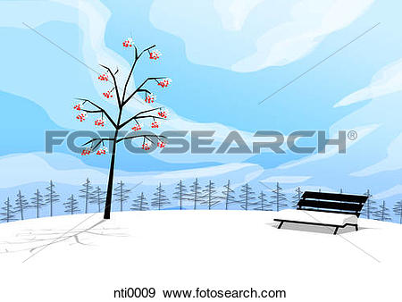 Stock Illustration of Illustration of a tree and a bench covered.