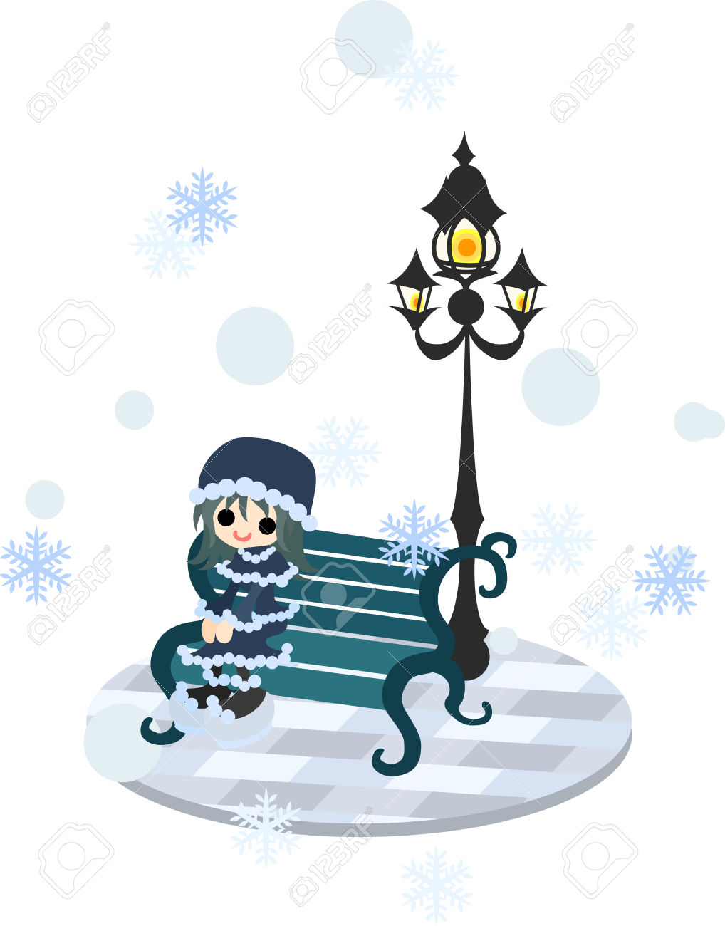 A Girl Is Sitting On The Bench And Looking At Snow In The Town.