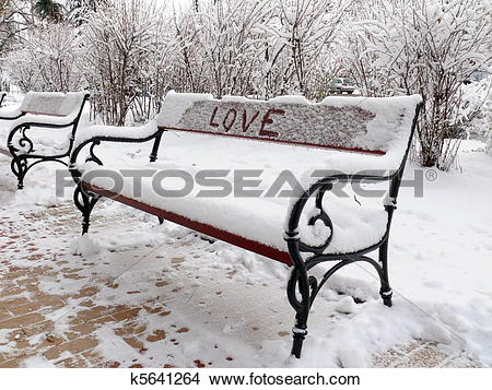 Stock Photo of Bench of love with snow in Sofia, Bulgaria k5641264.