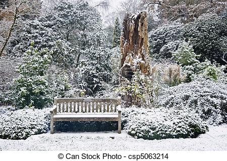 Stock Photo of Park bench in snow covered park surrounded by trees.
