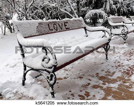 Stock Image of Bench of love with snow in Sofia, Bulgaria k5641205.