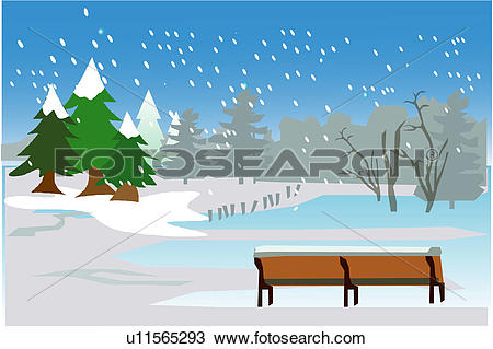 Clipart of countryside, scenery, rural, bench, snow, scene, winter.