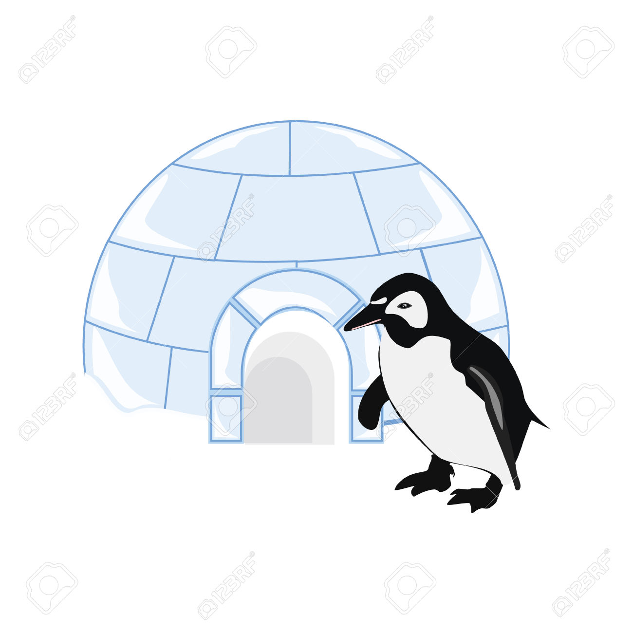 Illustration Snow Or Ice House Igloo And Penguin. House Made.