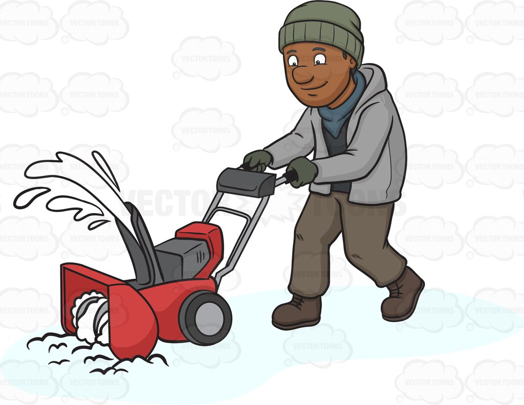 Showing post & media for Cartoon man with snow blower.