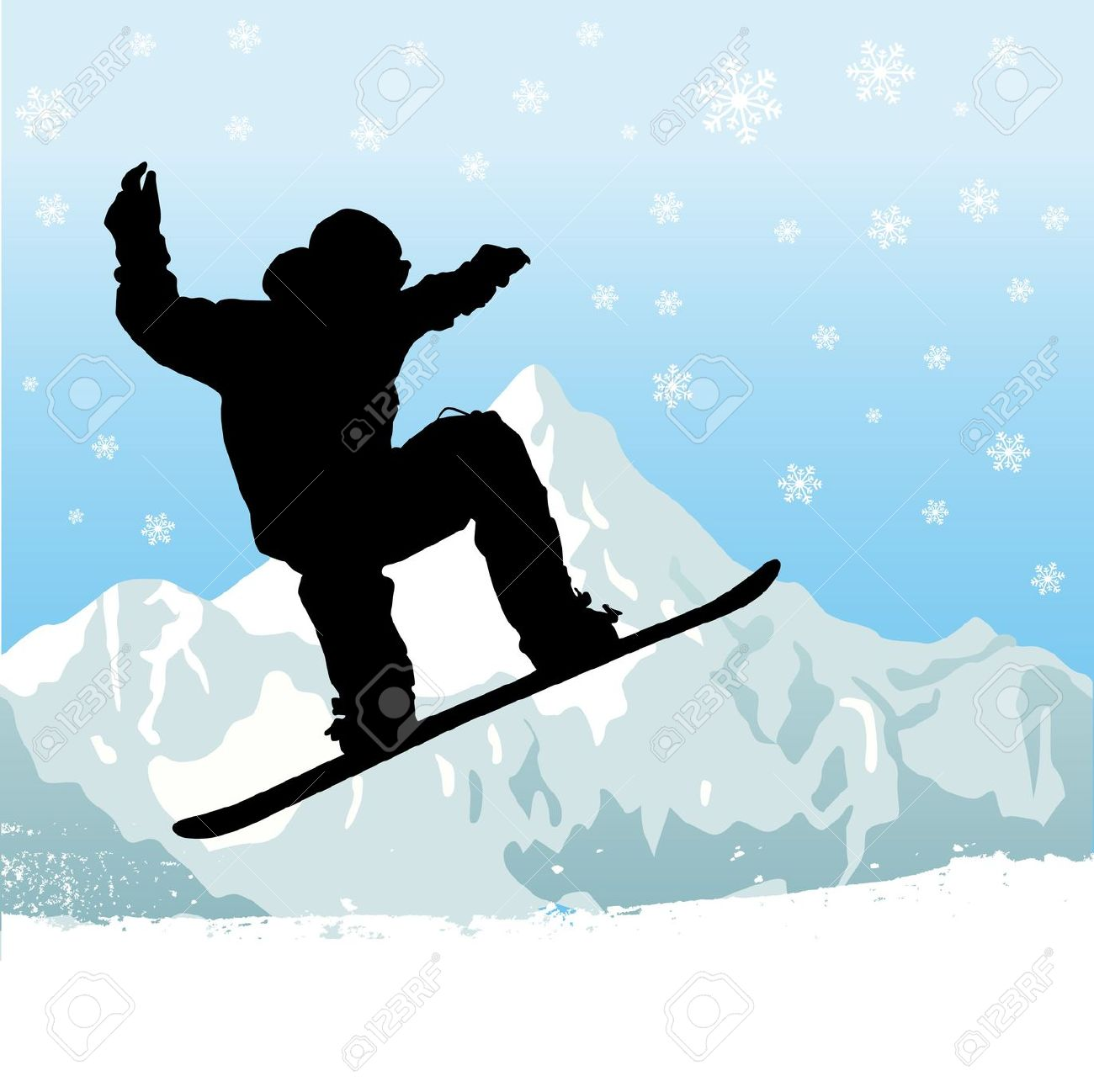 18+ Snowboarding Clipart.