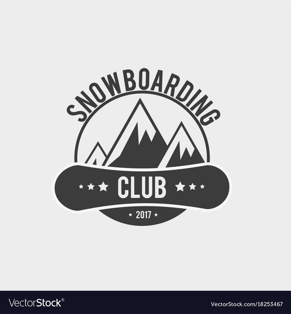 Snowboard club logo label or badge template.