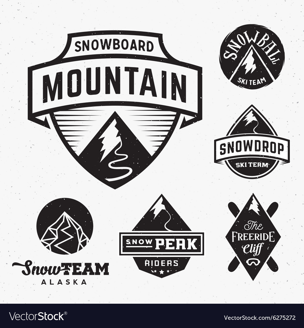 Set of Ski Snowboard Snow Mountains Sport Logos or.