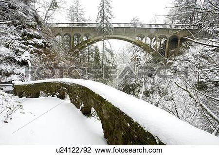 Stock Photo of Winter snow storm, Shepperd's dell, Columbia River.