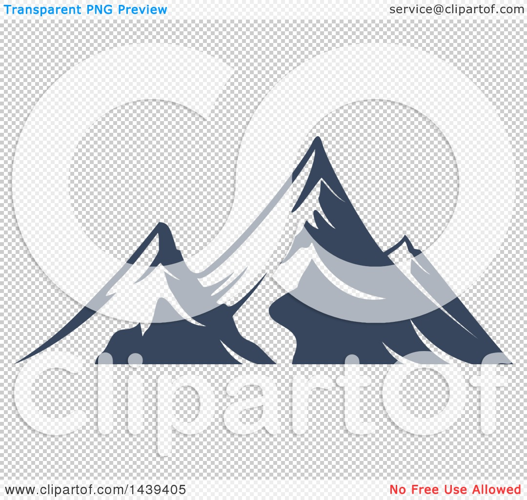 Clipart of a Dark Blue Mountains with Snow Caps.