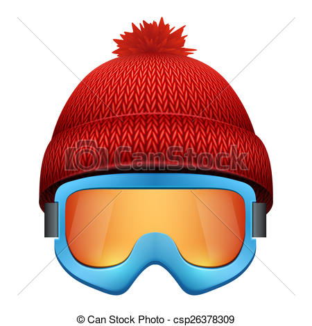 Stock Illustration of Knitted woolen cap with snow goggles. Winter.