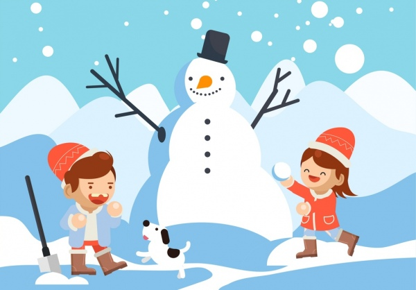 Winter background playful children snowman icons cartoon.