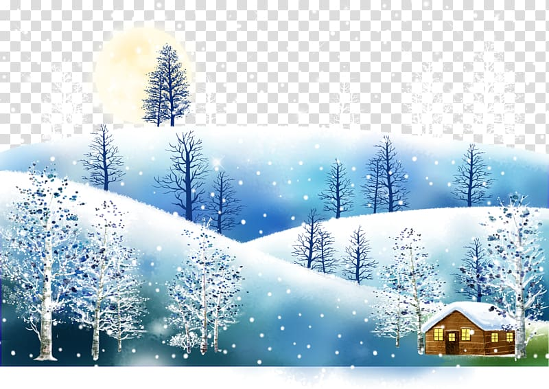 Cartoon Snow Illustration, Winter snow transparent.