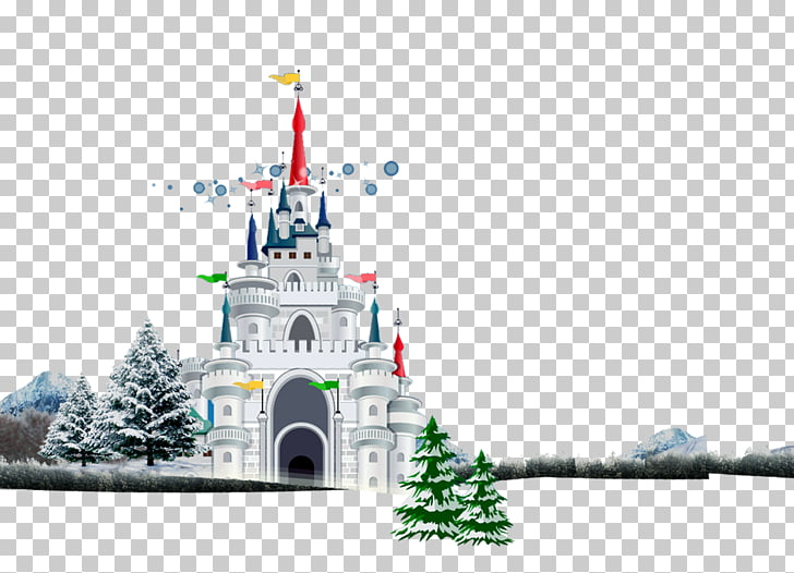 Christmas Illustration, Snow Castle Pines material PNG.