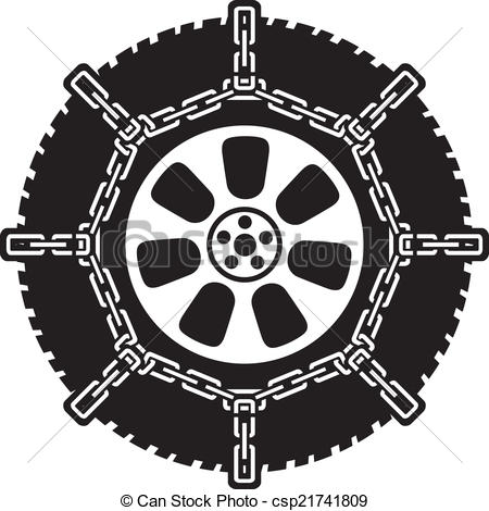 Vector Clipart of winter tyre with snow chains, tire with snow.